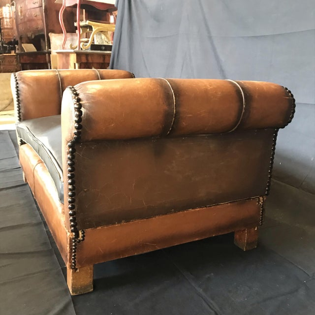 French Art Deco Leather Convertible Daybed Bench For Sale - Image 10 of 13