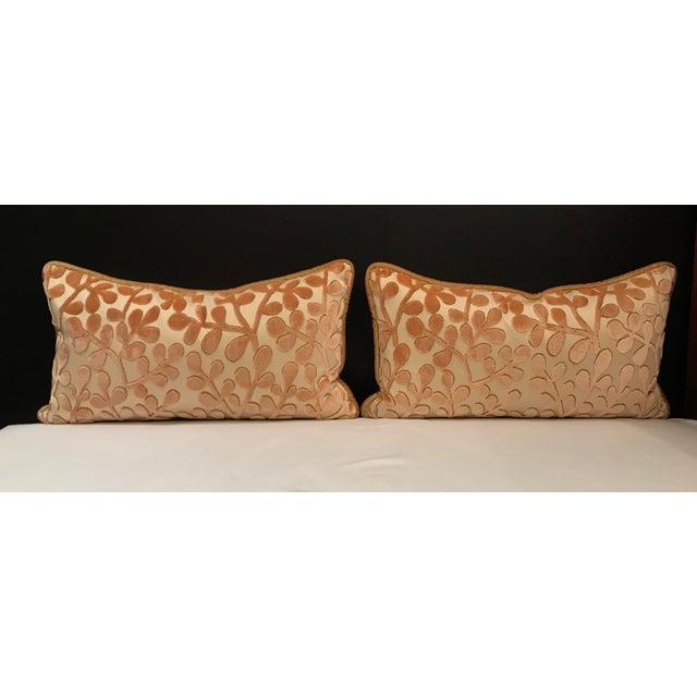 Transitional Transitional Beacon Hill Summer Sonata Shell Silk Velvet Epingle Lumbar Pillows - a Pair For Sale - Image 3 of 6