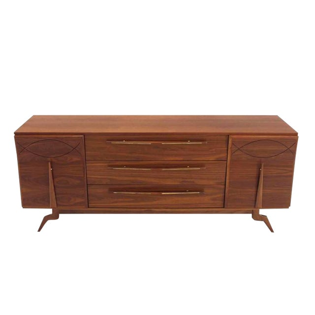 Outstanding Mid-Century Walnut Dresser with Heavy Sculptural Hardware For Sale