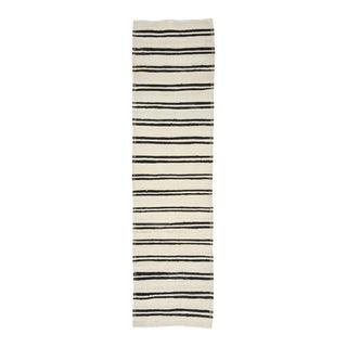Black & White Striped Vintage Kilim Runner For Sale