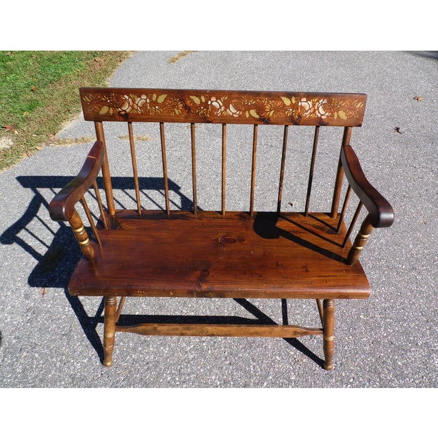 Vintage Spindle Back Harvest Stenciled Solid Pine Farmhouse Bench Settee For Sale - Image 11 of 13