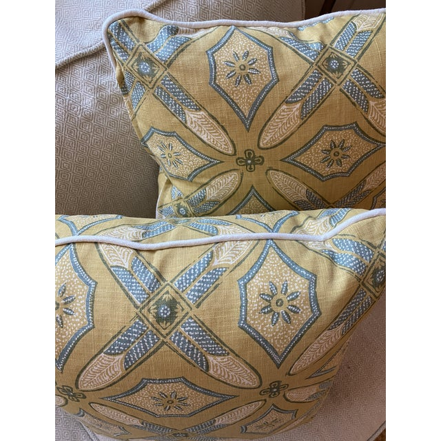 """Feather Custom Pillows in Kathryn M Ireland """"Graham"""" Designer Fabric - A Pair For Sale - Image 7 of 9"""