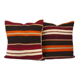 "20"" X 20"" Square MI-Century Turkish Kilim Pillow Covers - Pair For Sale"