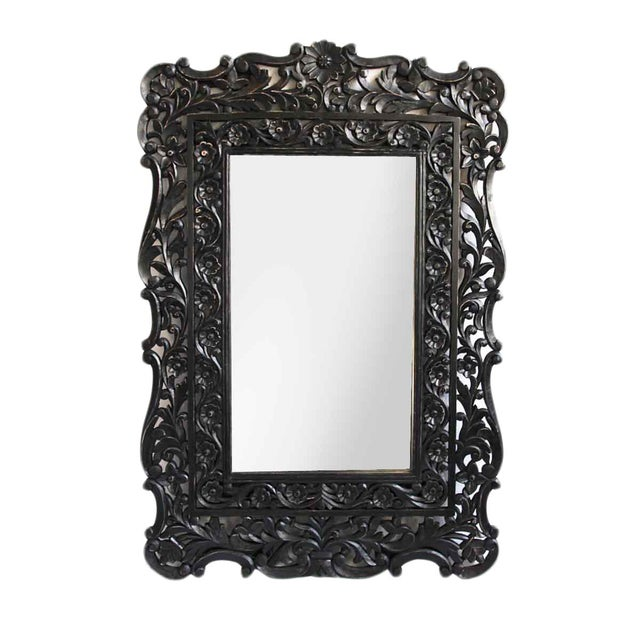 Image of Black Floral Carved Wood Mirror