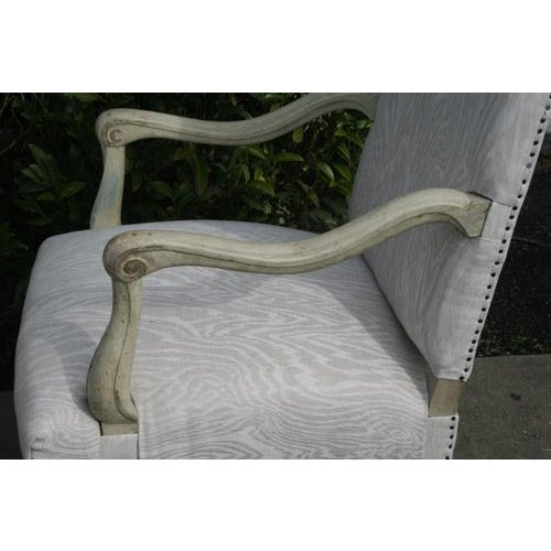 19th Century Louis XV Painted Library Chairs From France, Newly Recovered in Faux Bois Linen, Sold as a Pair For Sale - Image 5 of 7