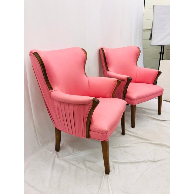 Early 20th Century Pair Vintage Mid Century Modern Arm Chairs With Pink Upholstery For Sale - Image 5 of 10