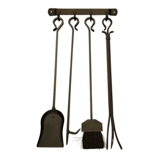 Rustic Style Wall Mounted Fireplace Tools - Set of 4 For Sale