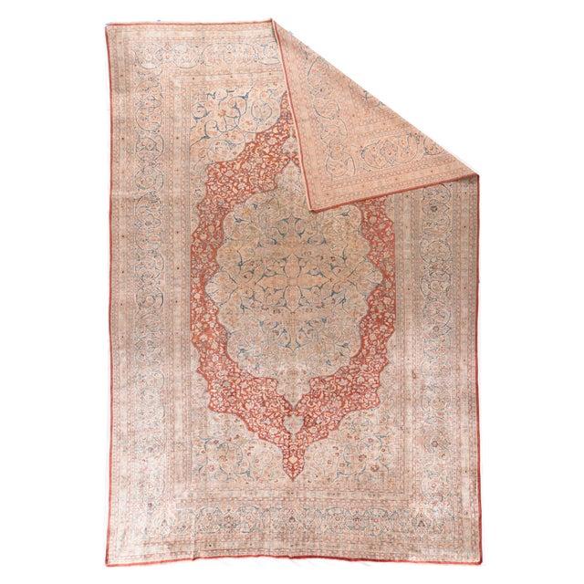 Persian Antique Ivory Tabriz Haji Jalili Persian Area Rug For Sale - Image 3 of 4
