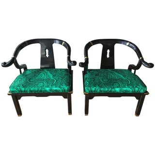 James Mont Style Malachite Lacquer Lounge Chairs by Century- A Pair For Sale
