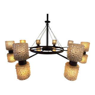 Round Metal Chandelier With Glass Shades For Sale