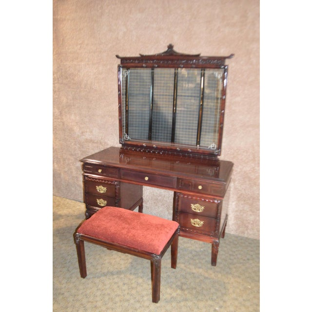 1950s Vintage Asian Inspired Mahogany Vanity Desk & Bench - 2 Pieces For Sale - Image 12 of 13