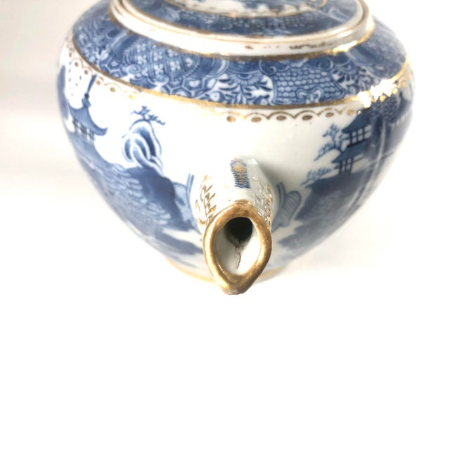 """Late 18th Century Late 18th Century English Georgian Period Caughley """"Blue Willow Nankin"""" Teapot or Punch Pot For Sale - Image 5 of 9"""