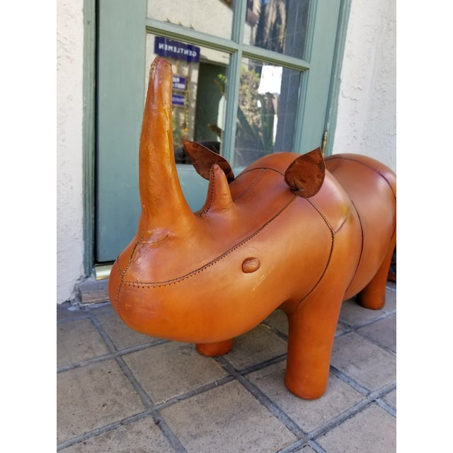 Large Leather Animal Rhino Footstool - Image 2 of 5
