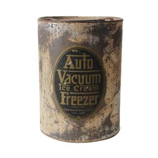 Antique Auto Vacuum Ice Cream Freezer Metal Container Jar Can