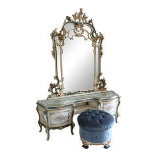 Silik Italian Rococo White and French Blue Vanity With Mirror and Bench - 2 Pieces For Sale