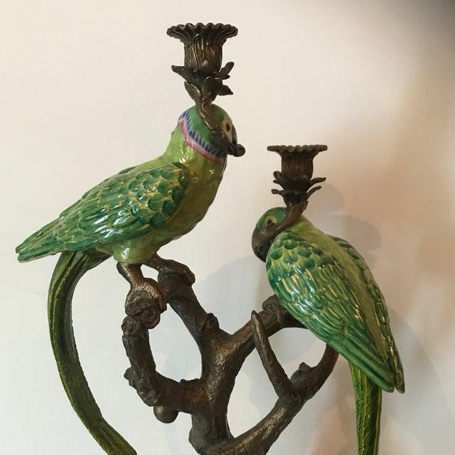 1960s Vintage Bronze Figural Parakeets Candelabra For Sale - Image 10 of 12