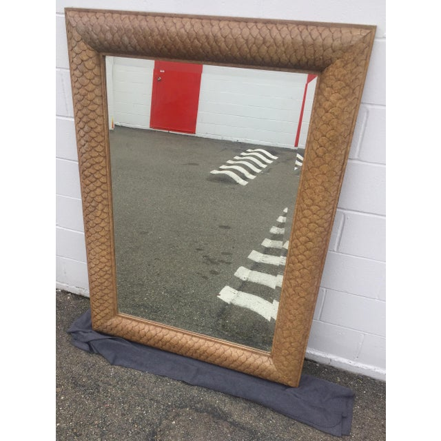 Hickory Furniture Marge Carson Fish Scale Wood Framed Mirror For Sale - Image 4 of 8