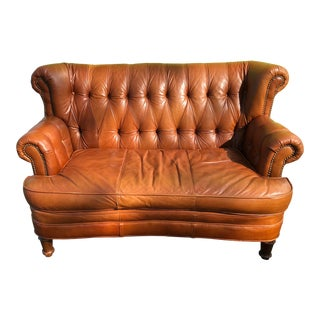 Leather Tufted Loveseat For Sale