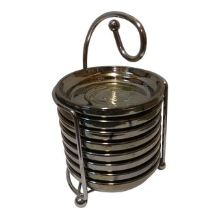 Mid-Century Guardian Service Ware Chrome Glass Coaster and Caddy Hostess Set- 8 Pieces For Sale