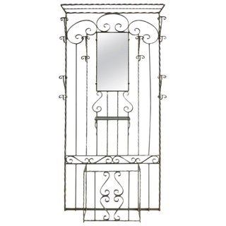 French Art Deco Wrought Iron Hall Stand For Sale