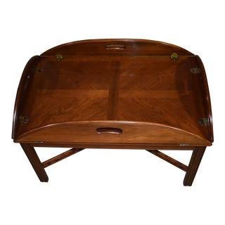 1980s Traditional Ethan Allen Solid Cherry Butlers Table W/Drop Leafs For Sale