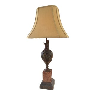 Bronze Ewer Lamp on Marble Base For Sale