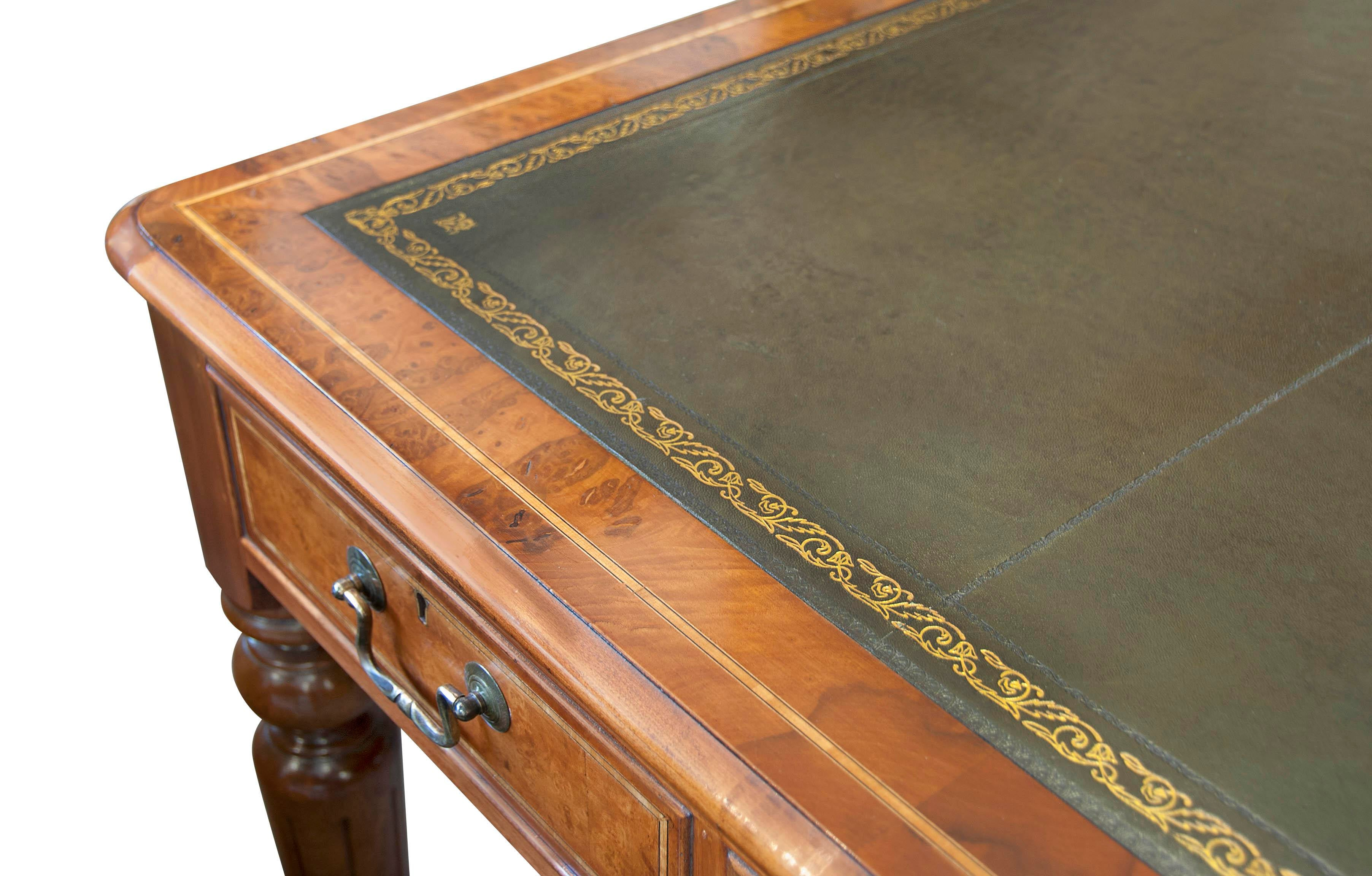 English Burled Walnut Tooled Leather Top Writing Table