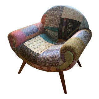 Patchwork Indian Sari Chair For Sale