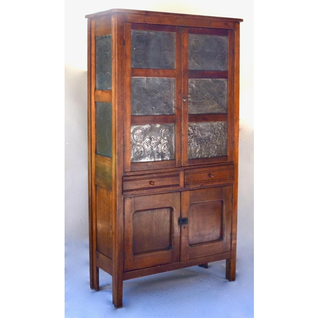 Antique Walnut/Pine 10 Punched Tin Panel Pie Safe Cabinet For Sale - Image 4 of 10