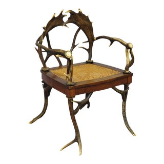 An Antique Rustic Cabin Antler Armchair Ca. 1900 For Sale