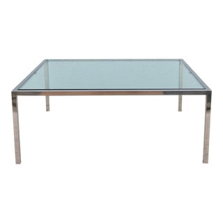 Mid-Century Modern Milo Baughman Style Glass and Stainless Steel Square Coffee Table For Sale