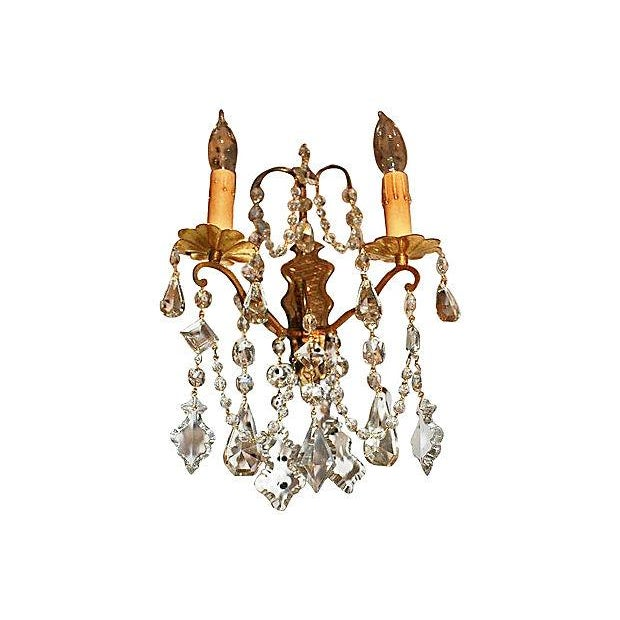Antique Crystal French Bronze Sconces - A Pair - Image 4 of 6