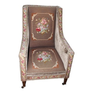 Early 20th Century Vintage Needlepoint Wing Chair For Sale