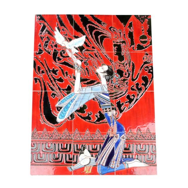 Geisha Tile Wall Art Plaque - Image 1 of 9