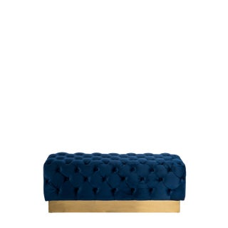Hollywood Regency Navy and Gold Harper Tufetd Bench For Sale