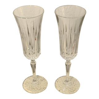 Vintage Crystal Champagne Flute Glasses - a Pair For Sale