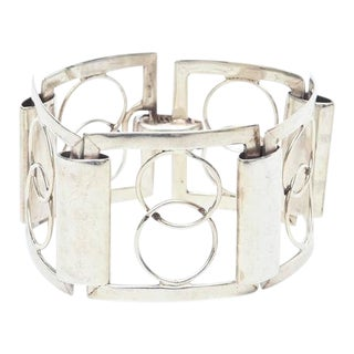 Italian Sterling Silver Modernist Geometric Open Link Cuff Bracelet For Sale