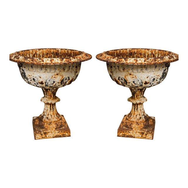 19th Century Iron Garden Urns - a Pair For Sale