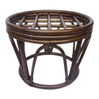 Vintage Round Boho Bamboo Rattan Cane Bentwood Drum Side Table For Sale