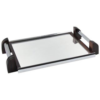 French Art Deco Chrome and Mirror Serving Tray with Macassar Wood Handles For Sale