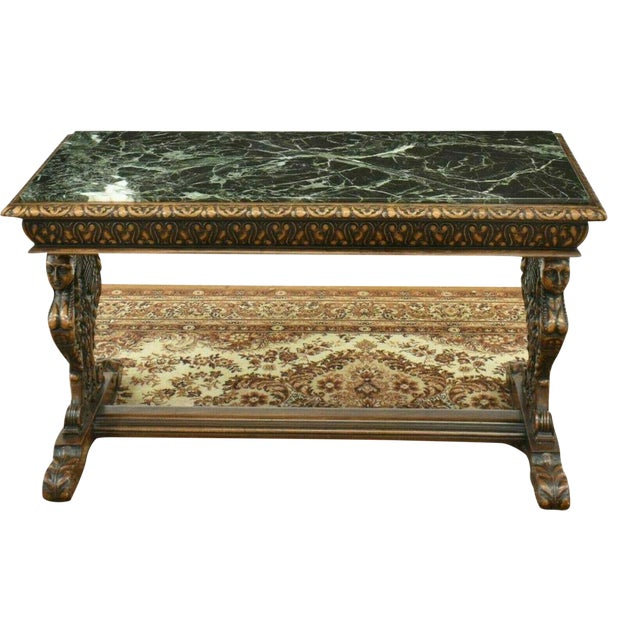 Antique Renaissance Style Figured Carved Marble-Top Coffee Table For Sale