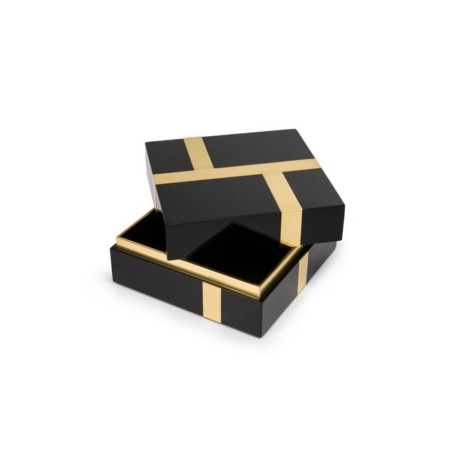 Contemporary Flair Collection Righe Box in Black / Brass For Sale - Image 3 of 5
