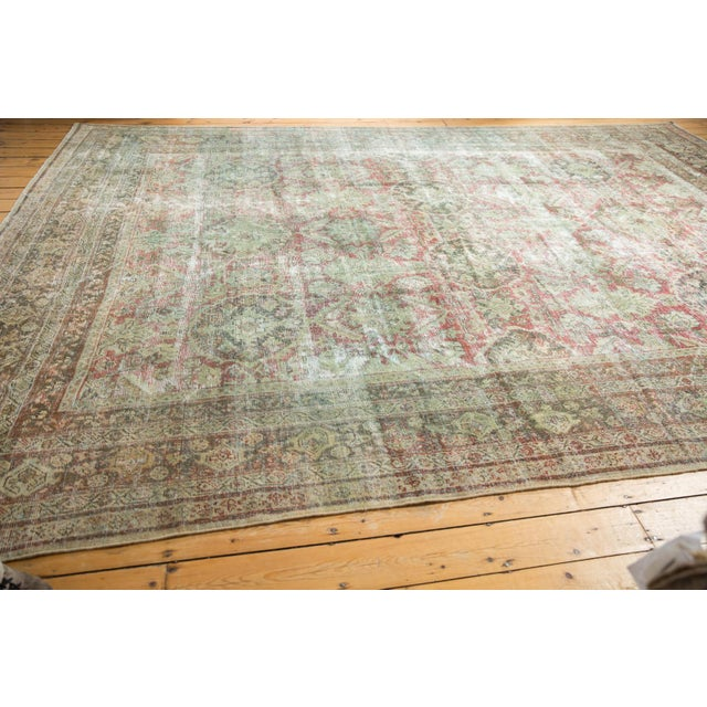 "Green Vintage Distressed Mahal Carpet - 10'5"" X 13'11"" For Sale - Image 8 of 13"