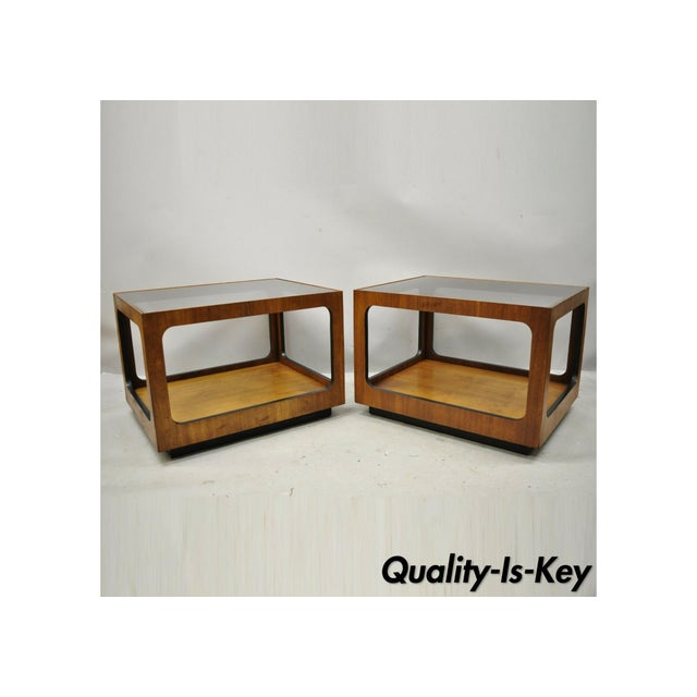 Mid Century Modern Lane Walnut Smoked Glass Modernist End Tables - a Pair For Sale - Image 12 of 12