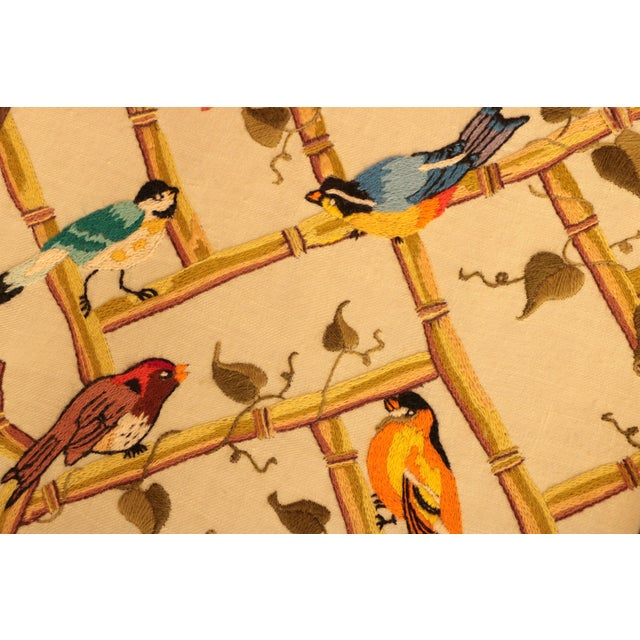 Songbirds on Bamboo Lattice - Framed Crewel Embroidery - Image 5 of 7