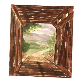 1960s Impressionist Painting Perspective Study of a Bridge and Landscape For Sale