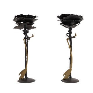 Pair of Albert Paley Blossom Candle Holders For Sale