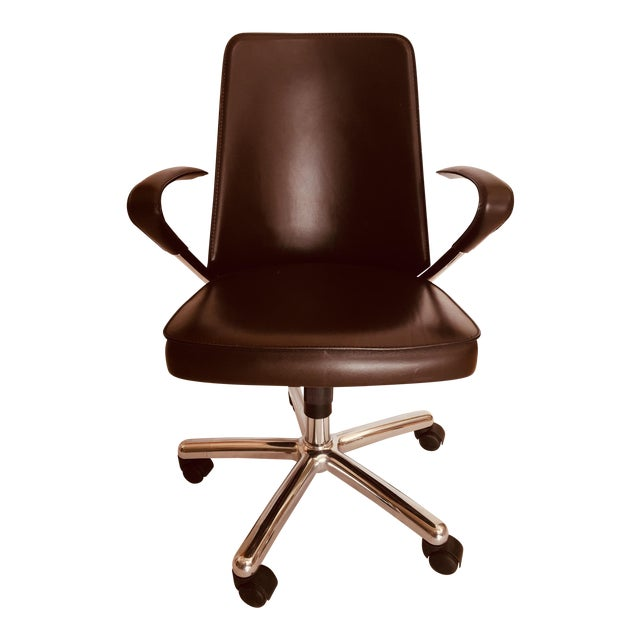 """""""Luna"""" Brown Leather Office Chair by Martino Perego for Fasem For Sale"""