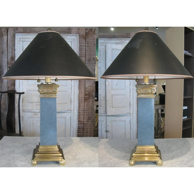 Pair of Brass and Lacquer Column Lamps by Chapman For Sale - Image 11 of 11