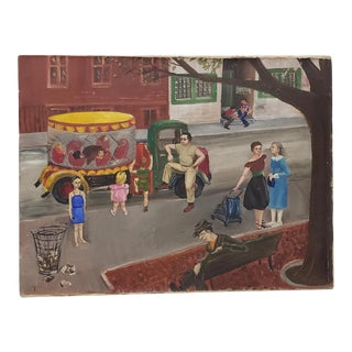 American Folk Art Oil Painting by Patten Hansom Maximoff C.1940s For Sale